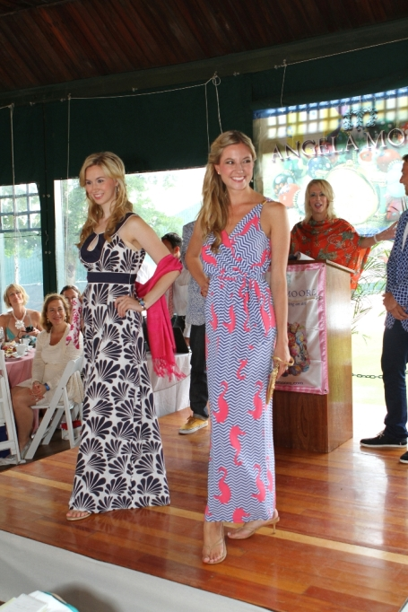 Miss Rhode Island Jessica Marfeo (left) and 2007 Miss Rhode Island Ashley (Bickford) Karger wearing Southern Frock and Tracy Negoshian