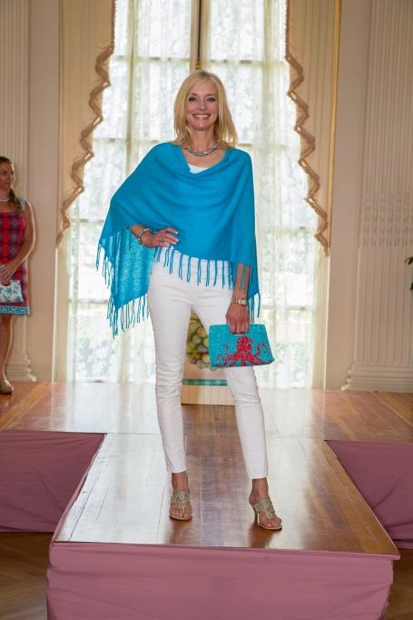 Carolyn Van Petten, wearing a Claudia Nichole cashmere poncho