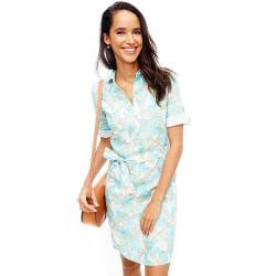j mclaughlin MIRANDA LINEN SHIRTDRESS IN DIAMOND PALM