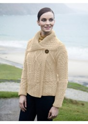 One-button patchwork Irish sweater cardigan by Aran Woolen Mills
