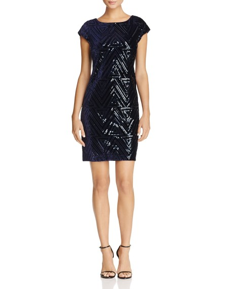 Eliza j Sequinembellished velvet dress